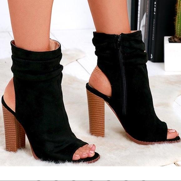 Lulu's Shoes - Black Suede Peep-Toe Booties